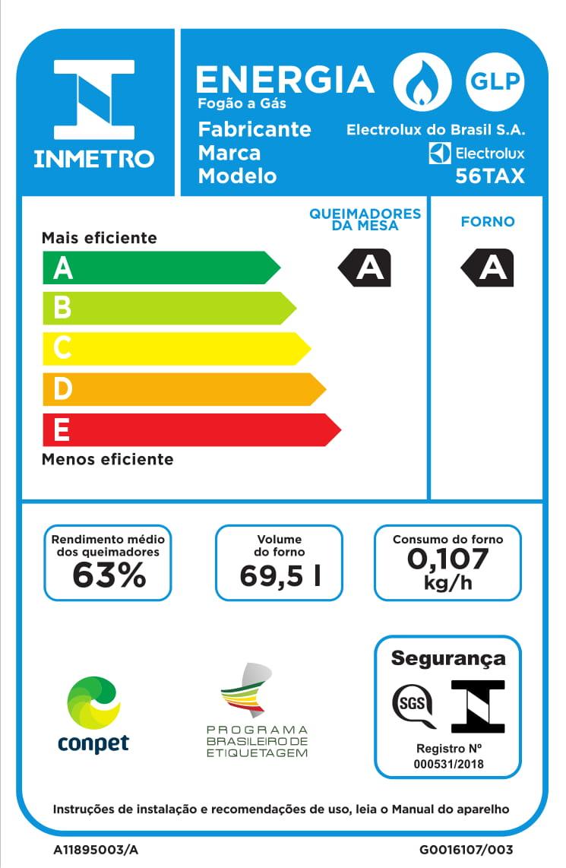 afc716238 Fogão de Piso 4 Bocas Electrolux Autolimpante com Porta Espelhada (56TAX)  ...