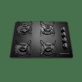 Foto tirada de cima pra baixo do cooktop 4 bocas continental a gás de vidro temperado preto, modelo KC4GP - bivolt. São 2 bocas na lateral esquerda e 2 na lateral direita, todas com grades individuais. À direta, ficam os botões dos queimadores.