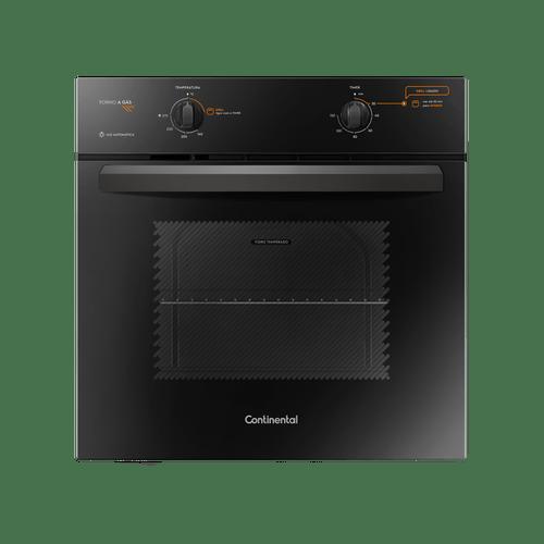 Foto frontal do forno a gás de embutir da Continental preto, modelo OC8GP. O painel de controle, cujas descrições das opções disponíveis estão na área de resumo do produto, traz as informações nas cores branca e laranja. O forno tem botões para a temperatura e o timer.