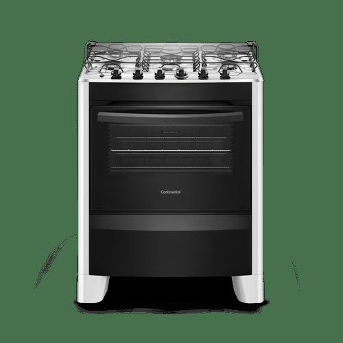 Fogão de Piso Branco 5 Bocas Automático com Mesa de Inox (FC5CB) - Bivolt