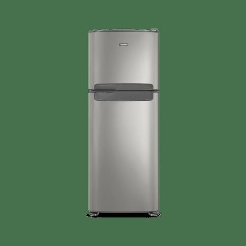 Foto frontal da geladeira Continental frost free duplex prata, modelo TC56S com puxador horizontal embutido entre as portas da geladeira e do freezer.