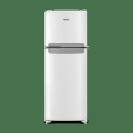 Foto frontal da geladeira Continental frost free duplex branca, modelo TC56 com puxador na cor prata horizontal embutido entre as portas da geladeira e do freezer.
