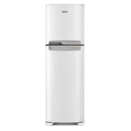 Foto frontal da geladeira Continental frost free duplex branca, modelo TC44 com puxador embutido na cor prata.