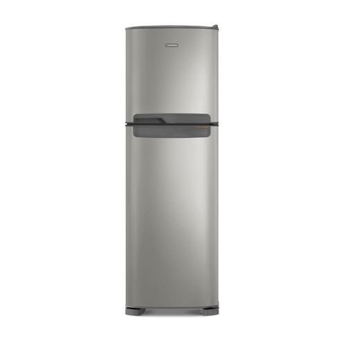 Foto frontal da geladeira Continental frost free duplex prata, modelo TC44S com puxador horizontal embutido entre as portas da geladeira e do freezer.